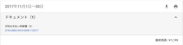 2017年11月分のGoogleAdwords利用料金