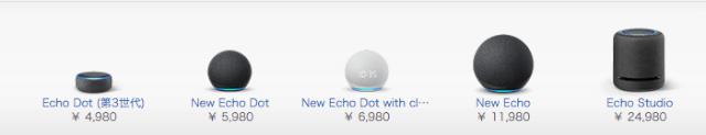AmazonEchoの価格帯を表す画像